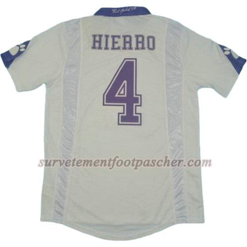 domicile maillot de real madrid 1997-1998 hierro 4 homme - blanc