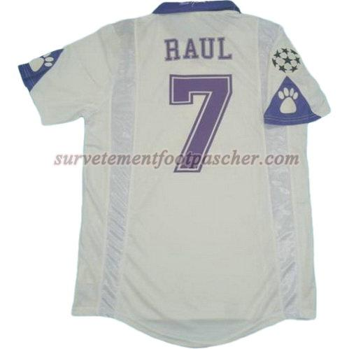 domicile maillot de real madrid 1997-1998 raul 7 homme - blanc