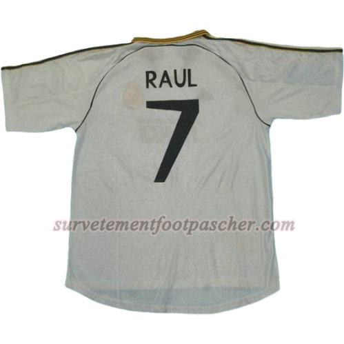 domicile maillot de real madrid 1999-2000 raul 7 homme - blanc