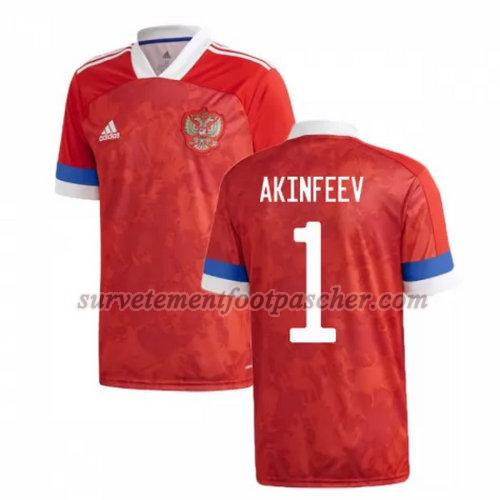 domicile maillot de russie 2020 akinfeev 1 homme - rouge