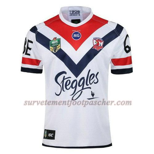 exterieur maillot rugby de sydney roosters 2018 homme - blanc