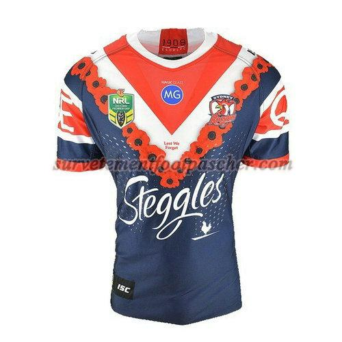 maillot rugby de sydney roosters 2018 homme - bleu